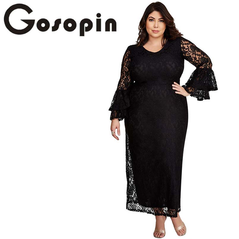 b2870086876 Gosopin Lace Women Long Gown Plus Size Maxi Dress Bell Sleeve Elegant  Summer Autumn Sexy Party Dress Hollow Out XXXL LC610353-in Dresses from  Women s ...