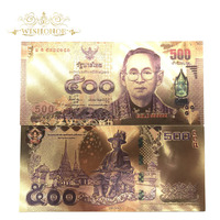 10pcs/lot 24K Color Thailand 500 Baht Gold Foil Banknote Double Side Printing, Currency Banknotes Paper Money For Collection