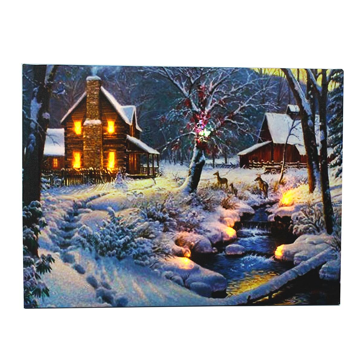 Wall Hanging Scenery Picture Winter House Light Up Canvas Painting