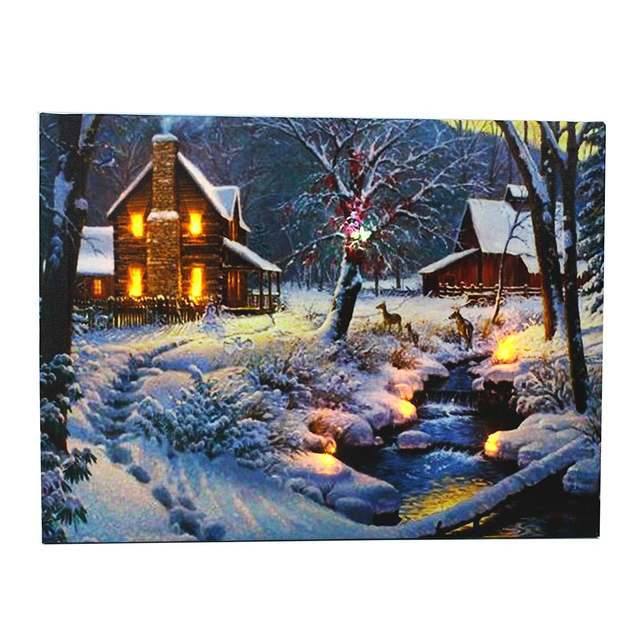 Wall Hanging Scenery Picture Winter House Light Up Canvas Painting Handicrafts Home Room Art Decorative Craftwork