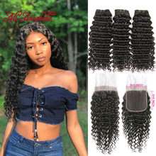 Deep Wave Bundles With Lace Closure 5x5 Closure With Bundles Remy Malaysian Human Hair 3 Bundles With Closure ALI ANNABELLE HAIR(China)