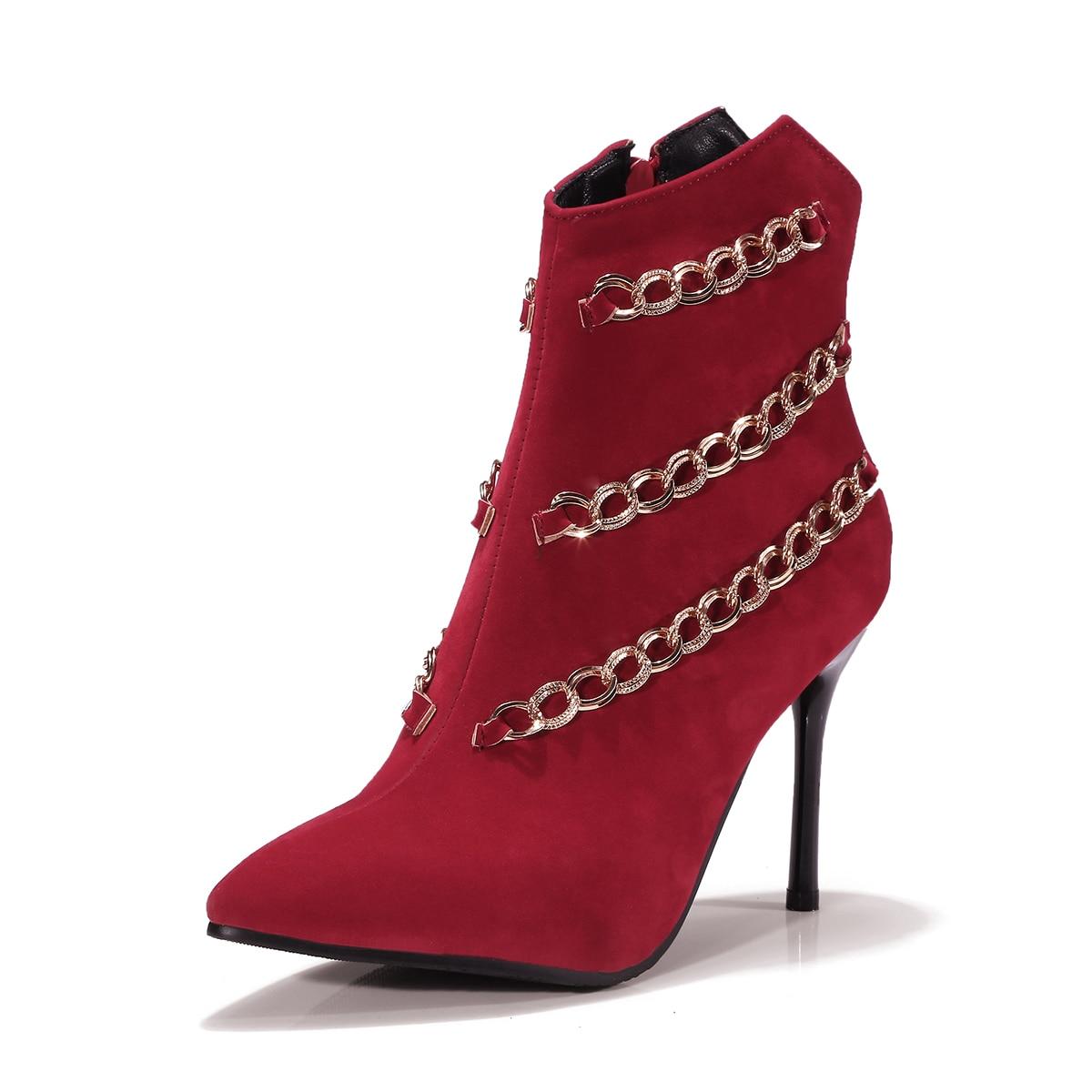 33 Femme Femmes Taille À 43 Chaîne Mince Noir Hauts Courtes D'hiver Talons Botas rouge Chaussures Neige Bottes Ankel OZwuTkXiP