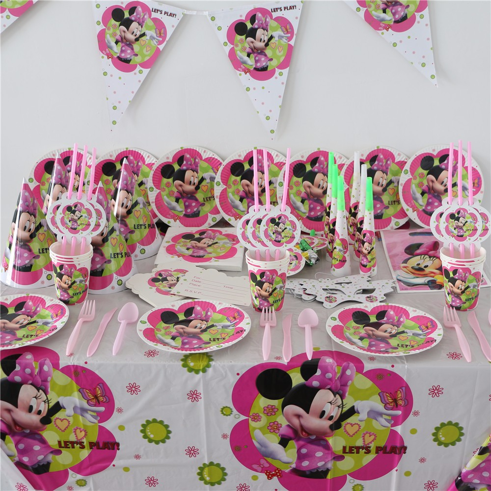 113pcslot Kids Favors Plates Birthday Party Baby Shower Flags Cartoon Minnie MOUSE Tablecloth Cups Decoration Banners Supplies