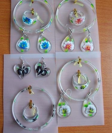(backorder) hand-painted flower acrylic drop earrings rings bracelets sets wholesalelot  #004.2 fashion earrings