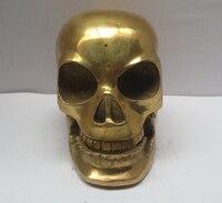 Металлические изделия китайская латунная резная статуя черепа, скульптура головы скелета Быстрая доставка