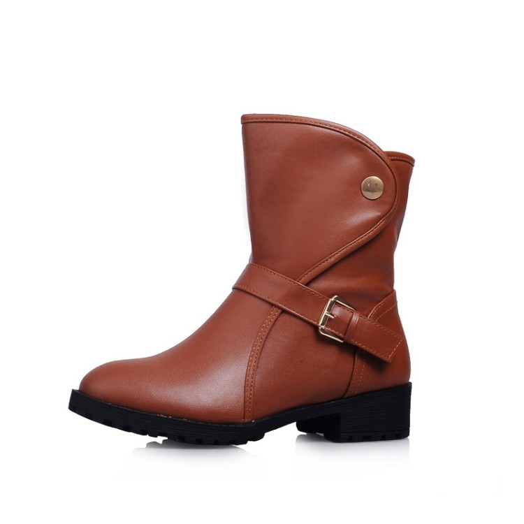 Big size 34-43 New Round  Toe Buckle Boots for Women Tie Ankle Boots Heels Fashion warm Winter  Spring  Autumn Casual Shoes B21 new winter women long style down cotton coat fashion hooded big fur collar casual costume plus size elegant outerwear okxgnz 818