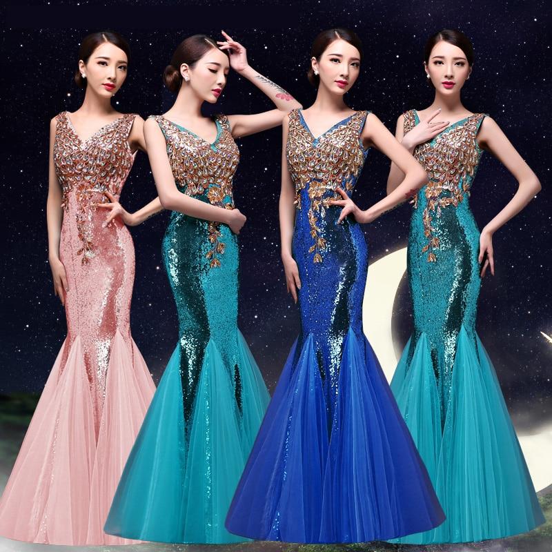 a3db4179a0 US $58.0 |2017 bride evening dress slim fish tail formal dress double  shoulder paillette/Sequin evening dress banquet long design-in Evening  Dresses ...