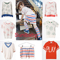 2017 kikikids summer bobo choses stripe bike letter boys girls sweater short sock kids children sweater children clothing