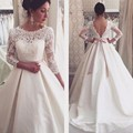 Long Sleeve Lace Wedding Dresses Satin Backless Wedding Gowns Weding Bridal Bride Dresses Weddingdress vestidos de noiva Sashes