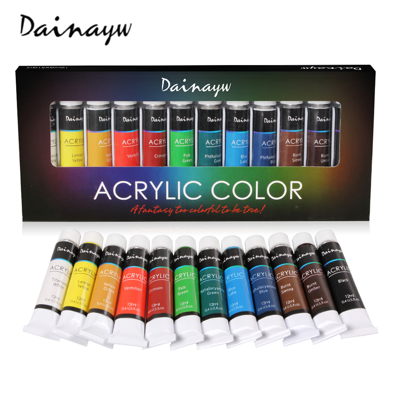 Dainayw Waterproof 12 Colors 12ML Tube Acrylic Paint Set Color Nail Glass Art Painting Paint for Fabric Drawing Tools Kids DIY 24 colors 12ml acrylic paint set color nail glass art painting paint for fabric drawing tools
