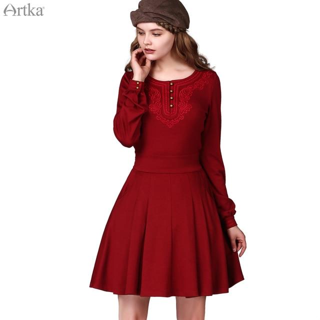 Artka Women S Fall Fashion Scoop Neck Embroidered Front Lantern Poet Sleeve Swing Dress Cinch Waist Shirt