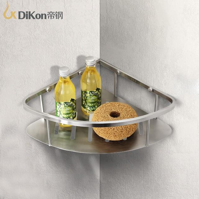 Dikon Gl06 Bathroom Corner Shelf Basket 304 Stainless Steel Accessories Single Angle Shelves Brushed