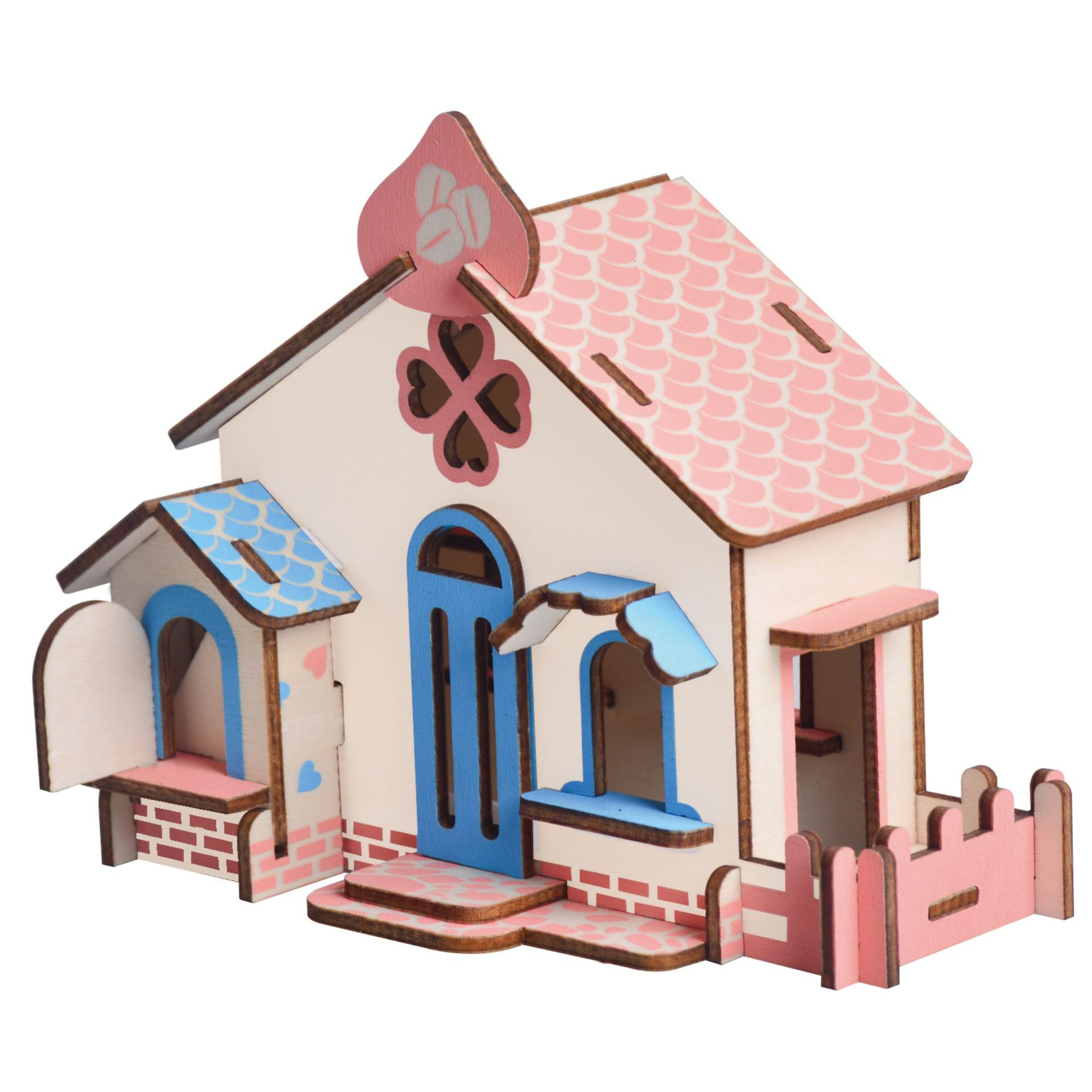 Laser Cutting 3D Wooden Puzzle Construction Chocolate House DIY Manual Assembly  Kids Educational Wooden Toys For Children