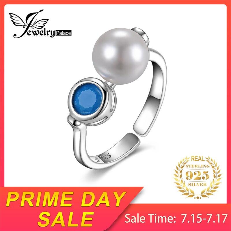 JewelryPalace Bazel Set Garnet Shell Pearl Adjustable 925 Sterling Silver Ring