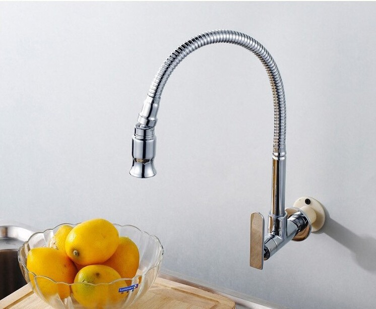 High quality chrome single lever brass hot and cold 360 degree rotating kitchen faucet