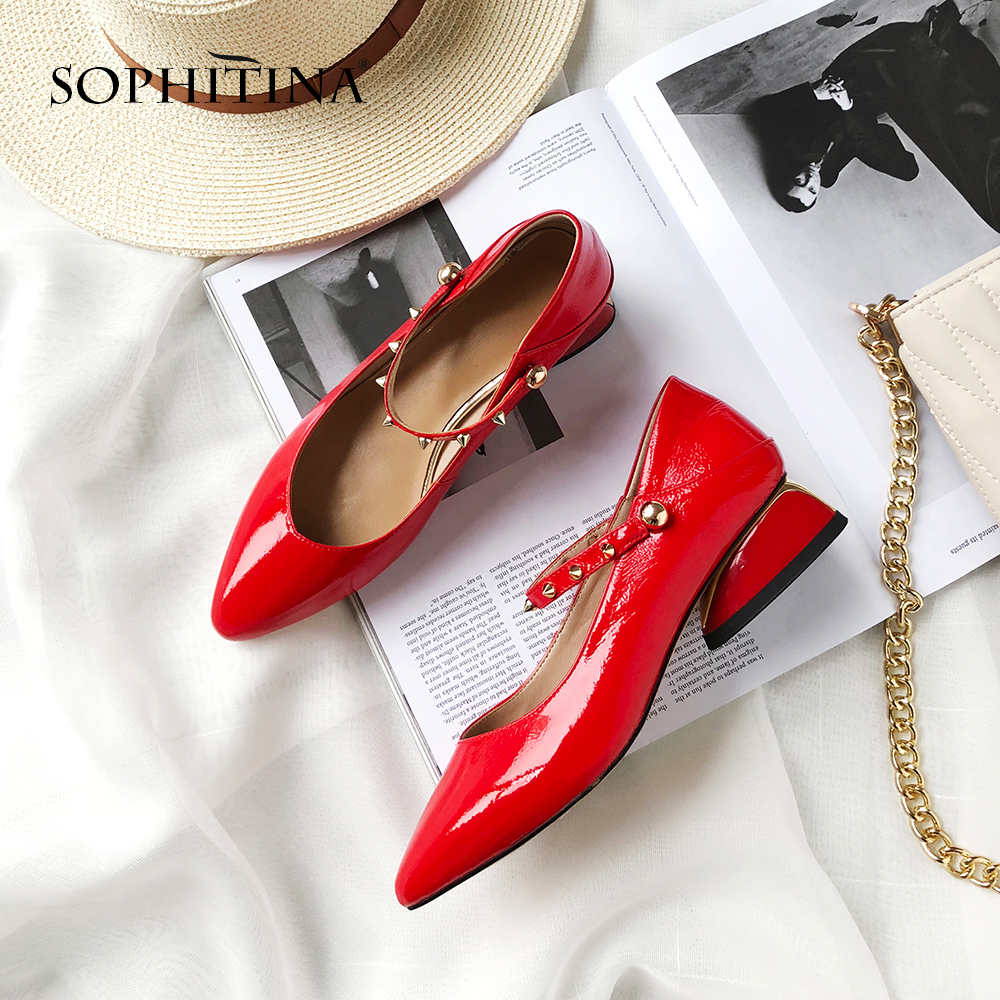 SOPHITINA Women s Sexy Pointed Toe Pumps Fashion Rivet Buckle Strap Spring Casual Shoes Handmade Genuine