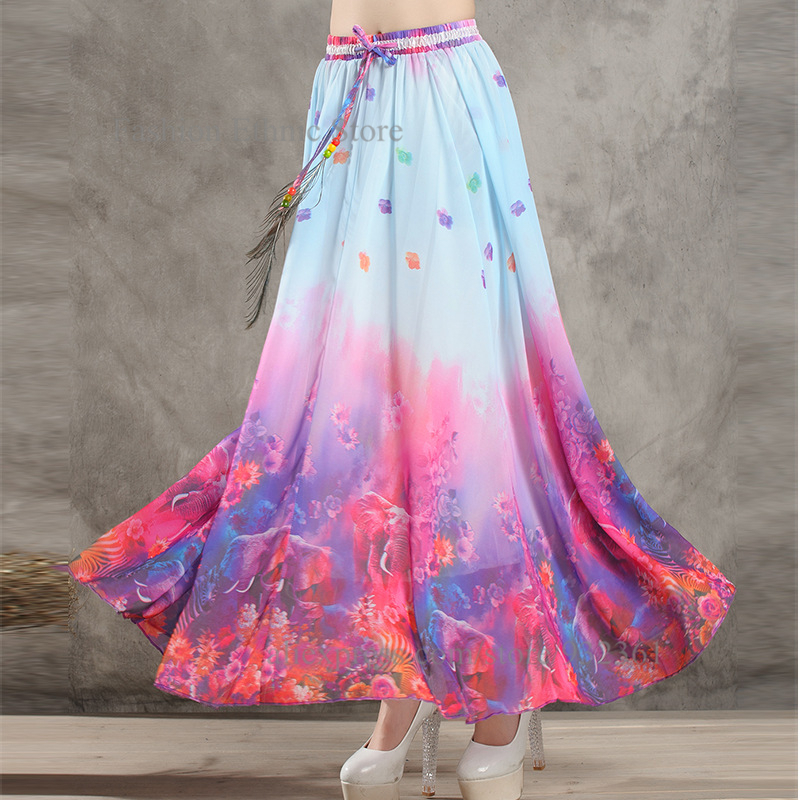 Vintage Printed summer style Long Skirts womens Chiffon long skirt ...