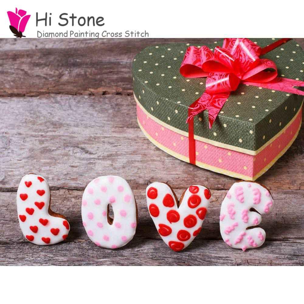 5D DIY Алмаз вышивка крестом полный квадратный алмаз живопись подарочной коробке в форме сердца мозаичное изображение дома decorat