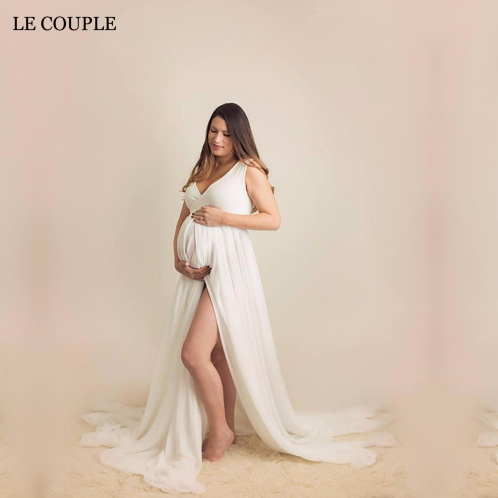 Le Couple Maxi Chiffon Maternity Gown V-neck Maternity Photogrpahy Dresses Sleeveless Maternity Photo Shoot Long Chiffon Dress black wave point lace up v neck long sleeves chiffon blouse