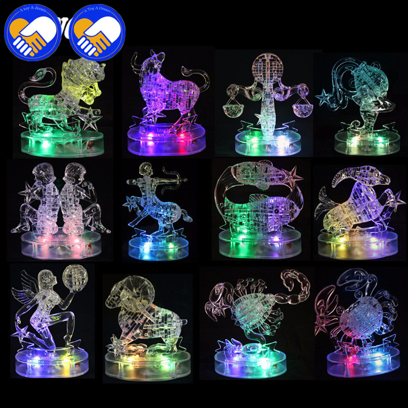 A TOY A DREAM 3D Crystal Zodiac Signs Puzzle Flashing LED