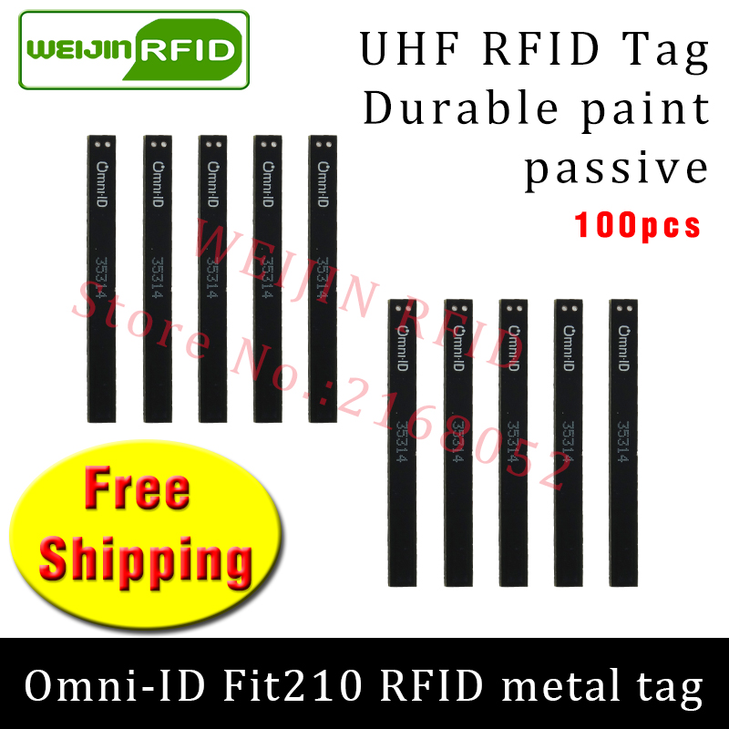 UHF RFID metal tag omni-ID Fit210 915m 868mhz Alien H3 EPC 100pcs free shipping durable paint long and thin passive RFID tags 2016 trays management anti metal epc gen2 alien h3 uhf rfid tag 50pcs lot