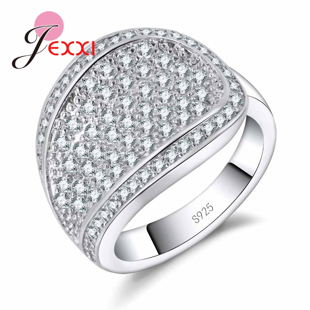 JEXXI Silver Color Exquisite  Fashion  Wedding & Engagement 925 Sterling Silver Ring Made   Cubic Zirconia Jewelry For couples