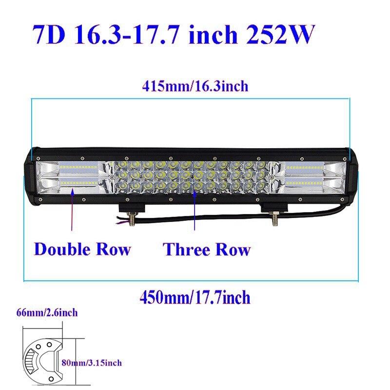 7D-Tri-Row-Straight-LED-Light-Bar-18-252W-Offroad-Work-Light-Combo-Beam-4X4-4WD