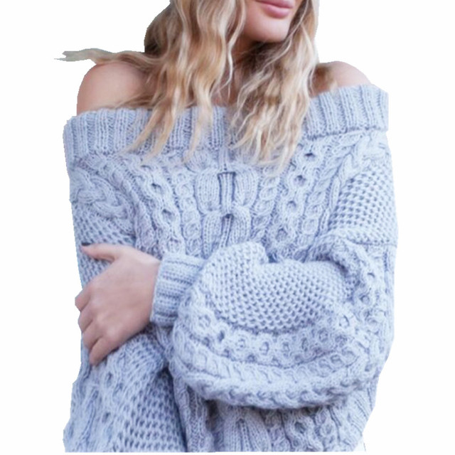 37a9862c60 2017 Autumn Winter Sexy Off Shoulder Pullover Sweater Women Knitted Thick  Casual Loose Short Crop Sweater Pull Femme A8314