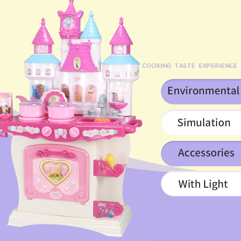 US $52.36 |New Pink Colour Height 73cm Pretend Play Kitchen Set Castle Toy  Gift For Children Simulation Cooking Cookware Kitchen Toy D30-in Kitchen ...