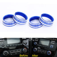 4pcs Car Styling Centeral Air Conditioner Button Cover Ring CD Sound Knob Trim For 2016 Nissan