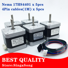 5pcs 4-lead Nema17 Stepper Motor 42 motor Nema 17 motor 42BYGH 40MM 1.7A (17HS4401) motor for CNC XYZ(China (Mainland))