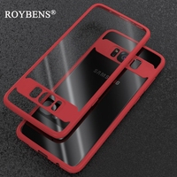 S8 / S8 + Roybens Ultra Thin Transparent Silicone Case For Samsung Galaxy S8 Plus PC + TPU Hybrid Slim Clear Soft Back Cover S8+