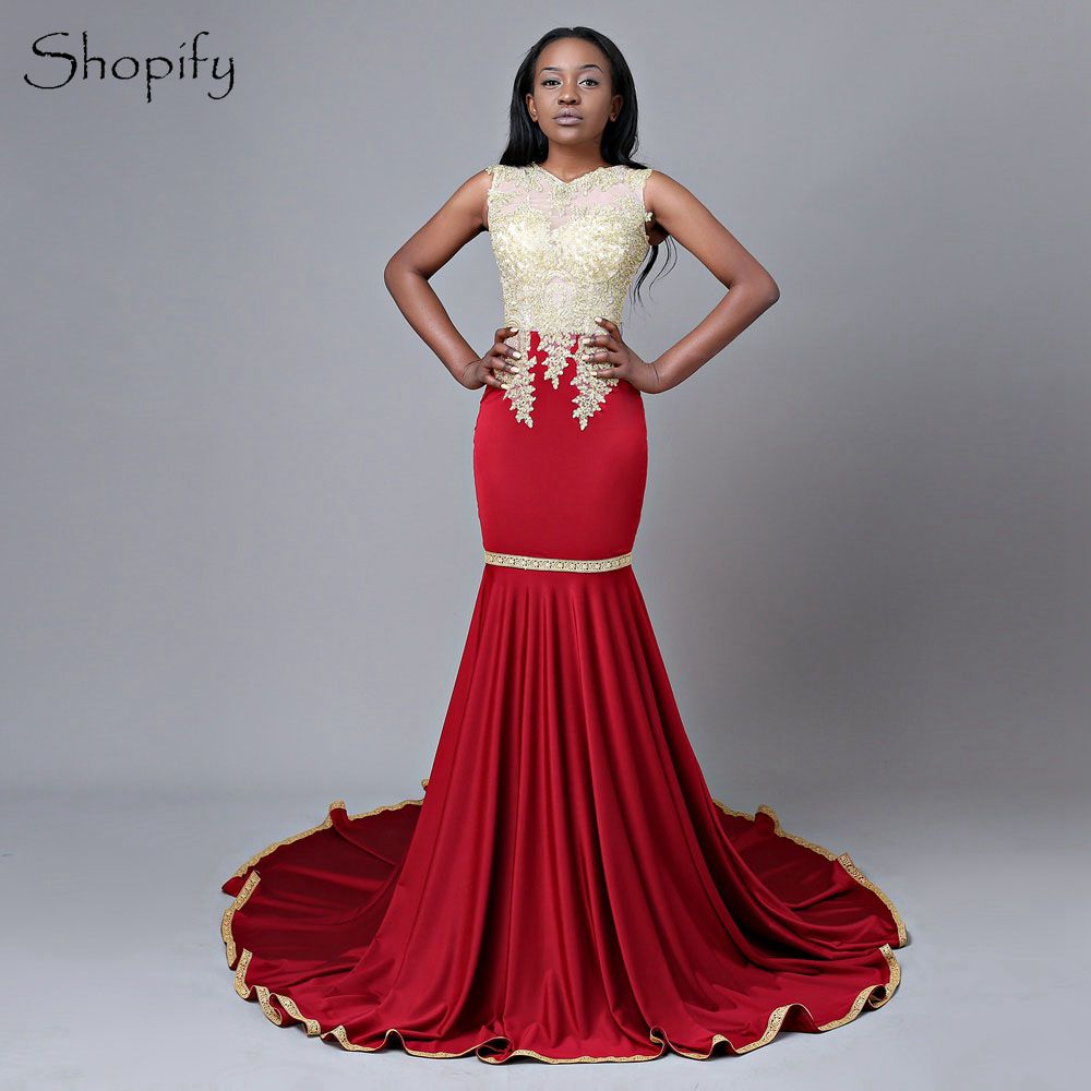 8f80330cd4 Long Red Prom Dresses 2019 Mermaid Scoop Sleeveless Gold Lace African Court  Train Party ...