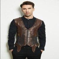 Steampunk Men's Vintage Waist Coat Brown Vests Metal Rivet Decoration Tops Shirts Accessory For Male