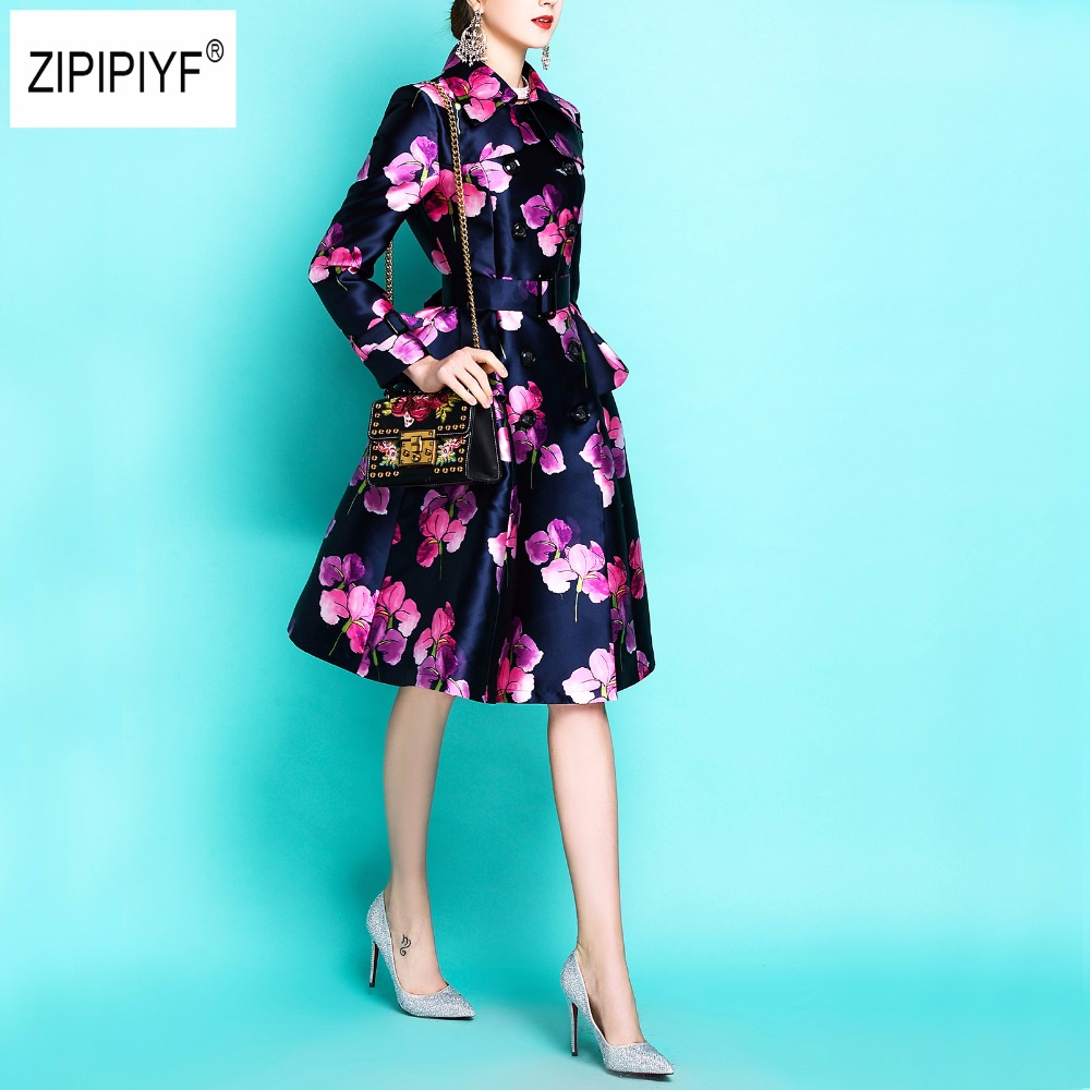 Women's long sleeve fashion long coats high quality autumn/spring 2018 designer Sashes Blue Printing Vintage Slim Trench B1128