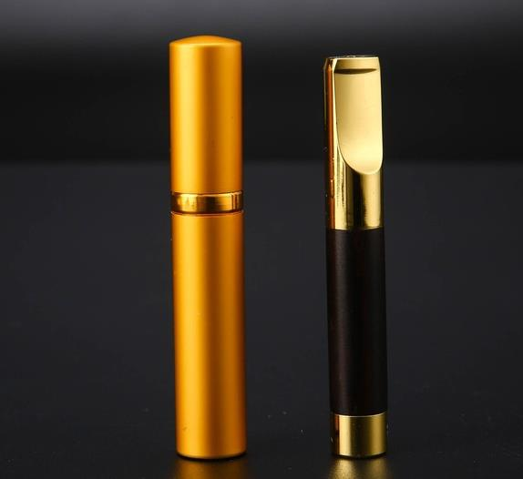 Luxury Brand Mahogany Wood With Brass Cigarette Holder Filter Portable Filtration Filter Tobacco Smoking Pipe Herb Father Gift