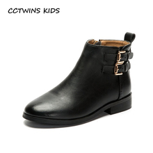 CCTWINS KIDS 2017 Toddler Fashion Black Buckle Ankle Boot Children Pu Leather Boot Kid Baby Girl Pointed Toe Booties C1150