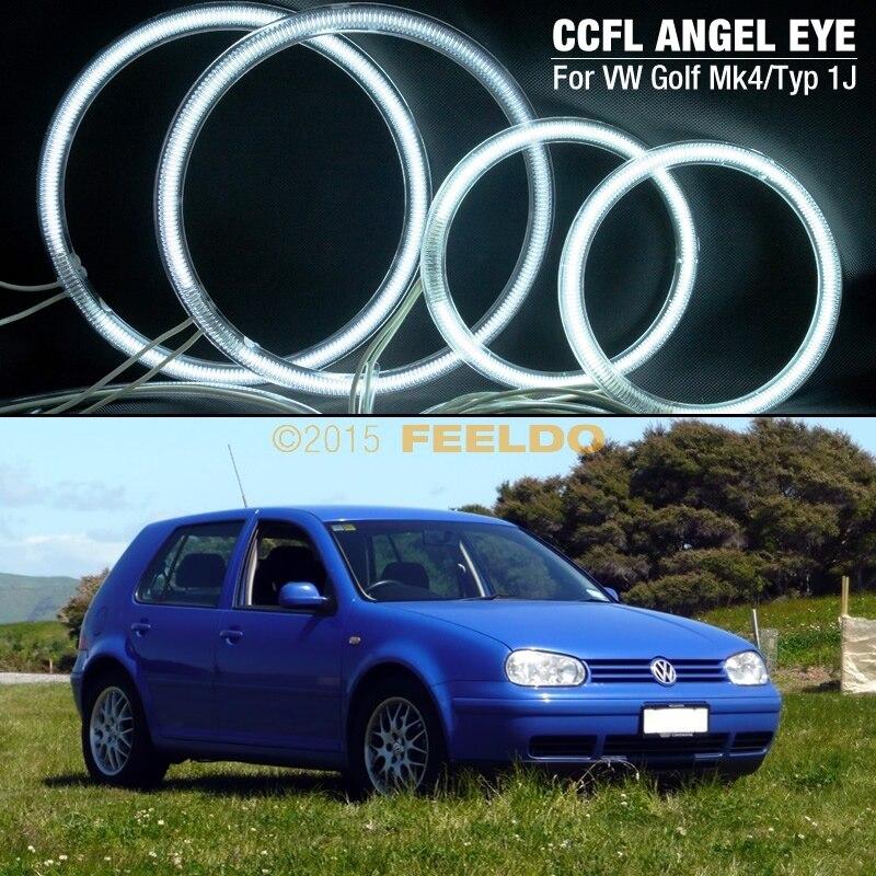 Prix pour 2X126mm 2X90mm Blanc Voiture CCFL Ange yeux LED Kits Pour VW GOLF4/MK4/Typ1J Ange Yeux Kits # J-4282