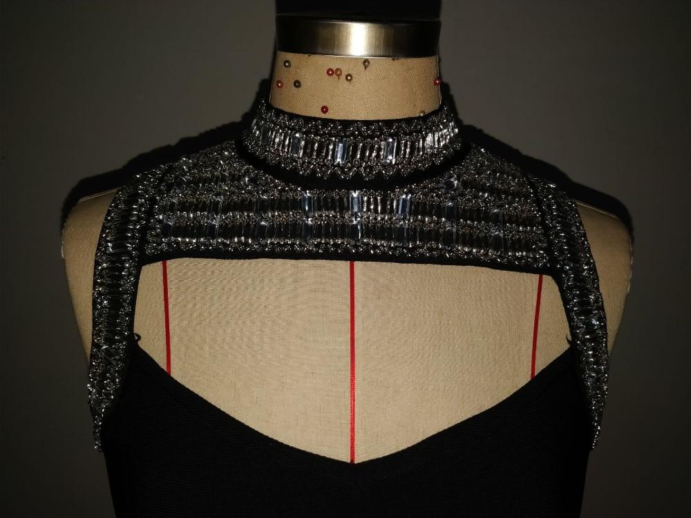 Tricoté Sexy Femmes Haute Bandage Designer Parti Noir 2018 Perles Robe Élégant Qualité qqTgRaw8
