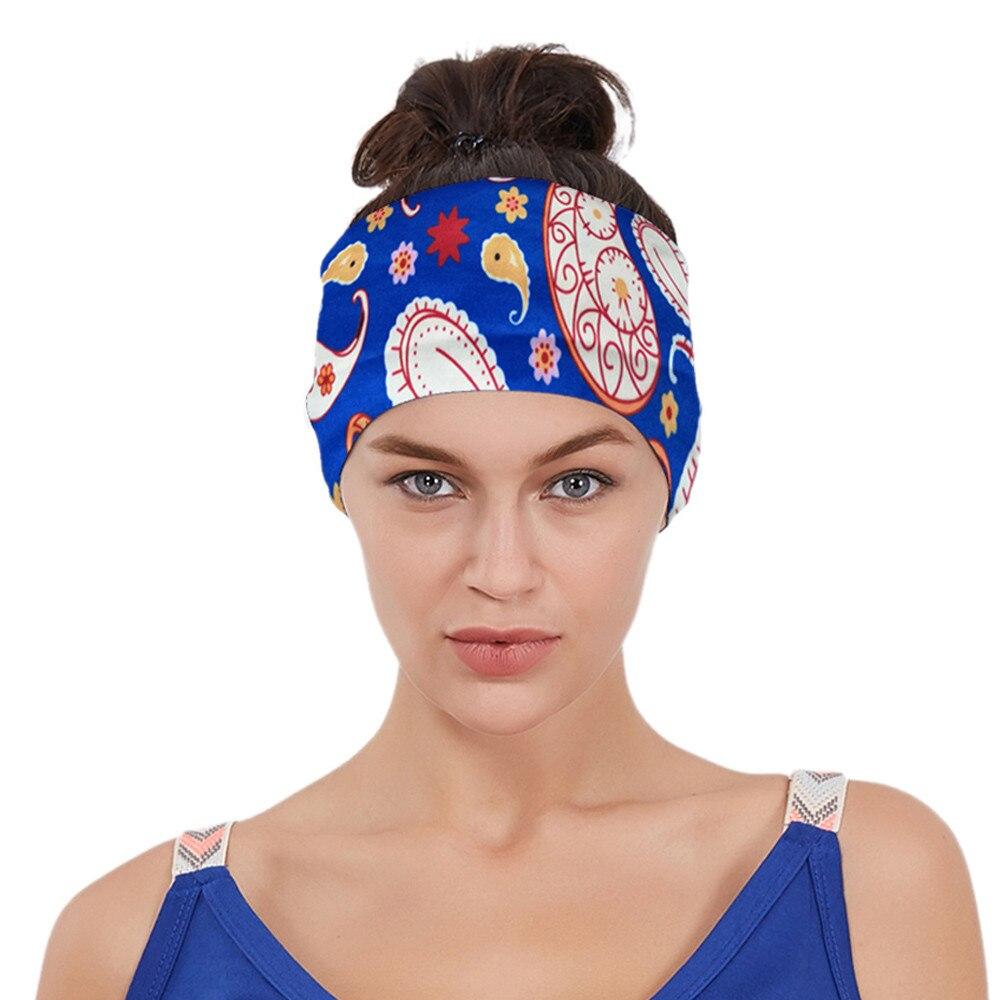 ①  Дамы Цветочный Принт Спорт Йога Sweatband Тренажерный Зал Стретч-Повязка для Волос Повязка для волос ①