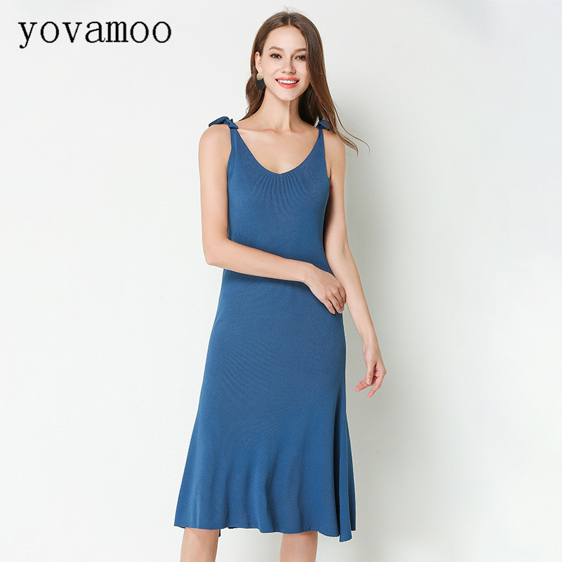 Yovamoo Long Dress Summer New Knitted Bandage V neck Backless A line European And American Mermaid Blue Dresses Women's Clothing