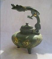 """Cinese old bronze gold gilt intagliato """"dragon"""" bruciatore di incenso/asian antiques metallo censer"""