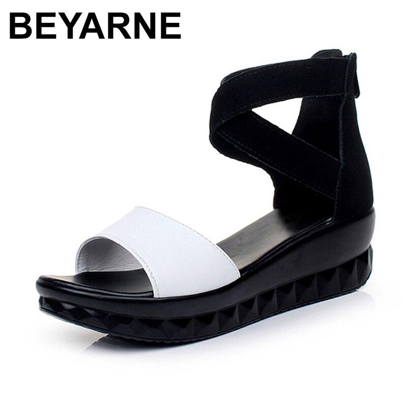BEYARNE bride à la cheville sandales femme chaussures d'été femmes sandales plate-forme dames chaussures avec talons sandales à bout ouvert