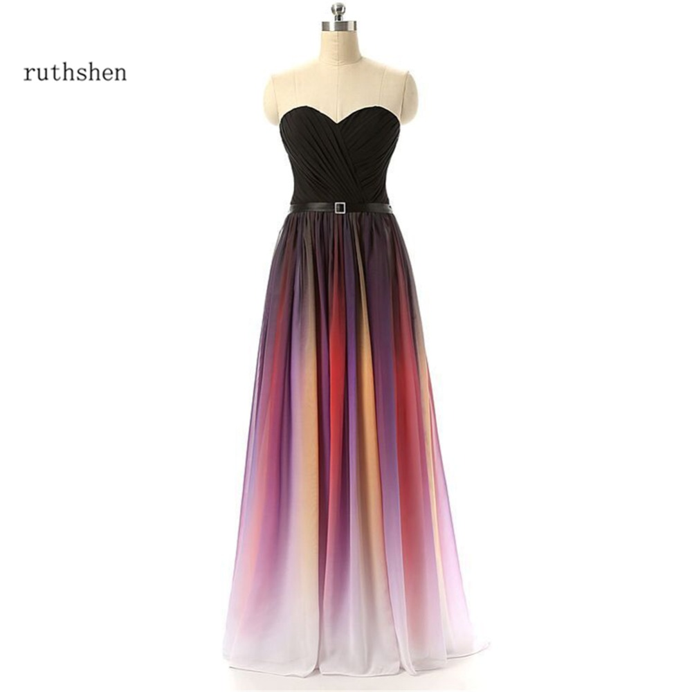 ruthshen Gradient Prom Dresses Cheap 2018 Pleated Ombre Chiffon Evening Dress Gowns Real Photo Vestido Longo
