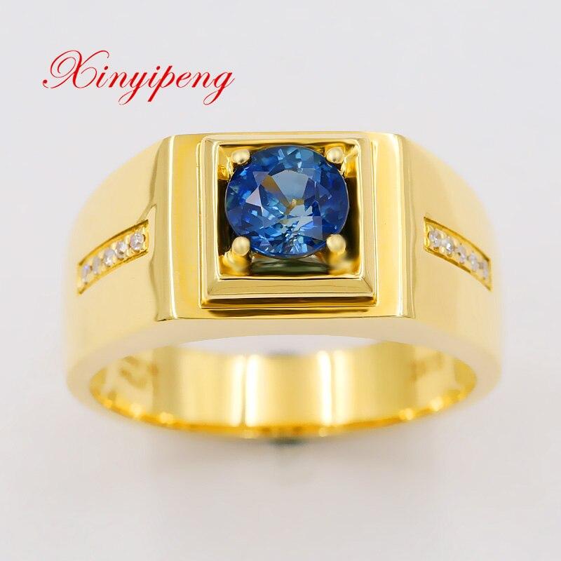 Xin yi Пэн 18 К желтого золота инкрустированные натуральный 1,275 карат кольцо с сапфиром, Мужская Большой кольцо, кольцо с бриллиантом