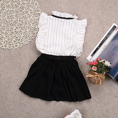 Baby Girls Summer Ruffle Striped Blouse Shirt Tops+Short Skirts 2pcs  Outfits Clothes Set Sleeveless Tshirts Black Skirt Clothing-in Clothing  Sets from ... 6410e13a1