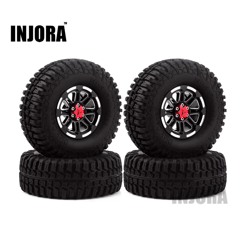 4PCS RC Crawler Truck 1.9 Inch Rubber Tires & Metal Beadlock Wheel Rim Kit for 1/10 Axial SCX10 Tamiya CC01 D90 D110 2pcs 2 2 metal wheel hubs for 1 10 scale rc crawler car nv widen version outer beadlock wheels diameter 64 5mm width 43 5mm