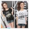 Kpop Летние exo печати шею с коротким рукавом футболки Корейской Slim с коротким рукавом дна рубашки женский k-pop exo майка Тройники