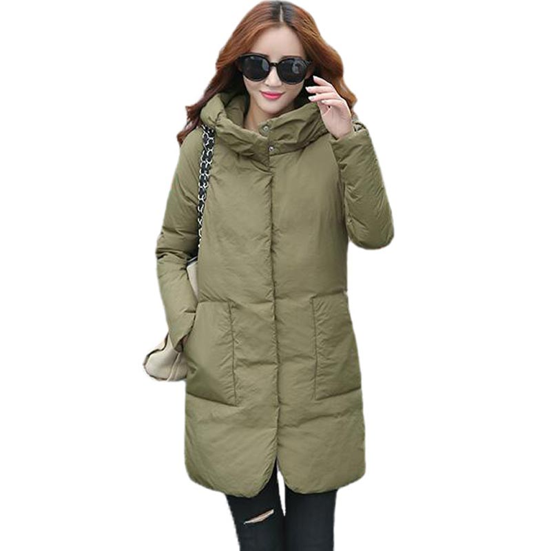 ФОТО New Fashion Female Padded Autumn Winter Coat Hooded Medium Long Cotton Padded Jacket Slim Parkas Women Jackets and Coats PW0630