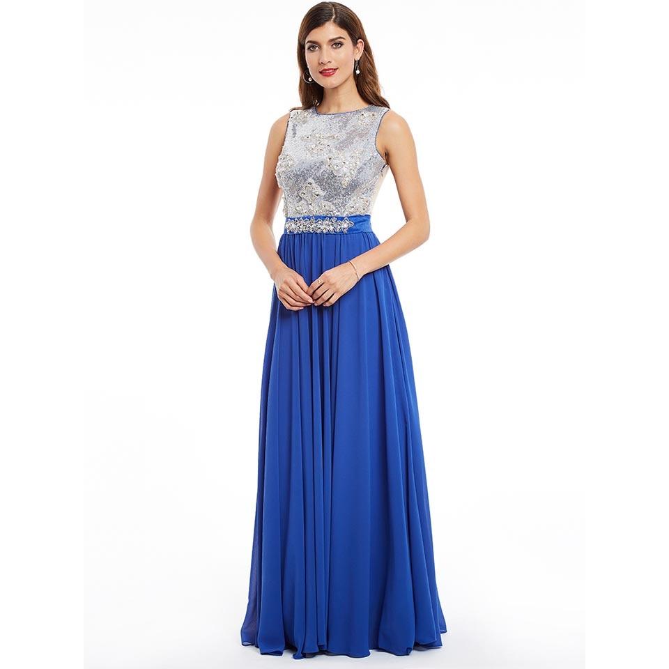 Dressv dark royal blue scoop neck long   evening     dress   cheap beading sequins wedding party formal   dress   a line   evening     dresses